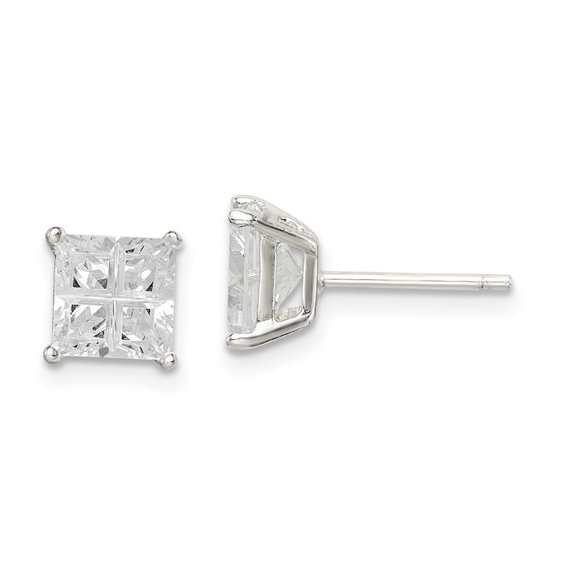 Quality Gold Sterling Silver 6mm Square Cross-cut CZ Basket Set Stud Earrings