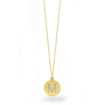 "Diamond Disc Initial ""M"" Necklace in 14k Yellow Gold with 23 Diamonds weighing .11ct tw."