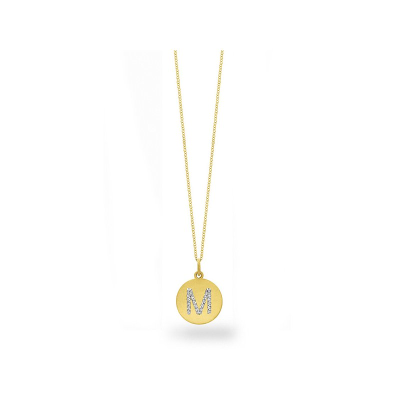 "KC Designs Diamond Disc Initial ""M"" Necklace in 14k Yellow Gold with 23 Diamonds weighing .11ct tw."