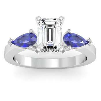 Classic Pear Shaped Blue Sapphire Engagement Ring