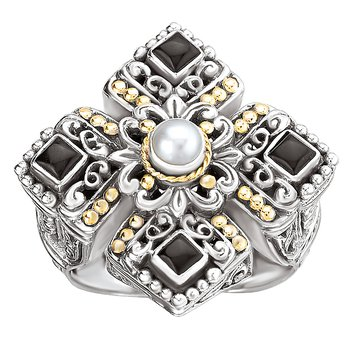 18K/SILVER CROSS DESIGN WITH  BLACK ONYX AND PEARL RING