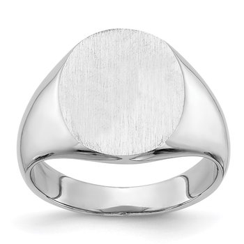 14k White Gold 14.0x13.5mm Closed Back Signet Ring