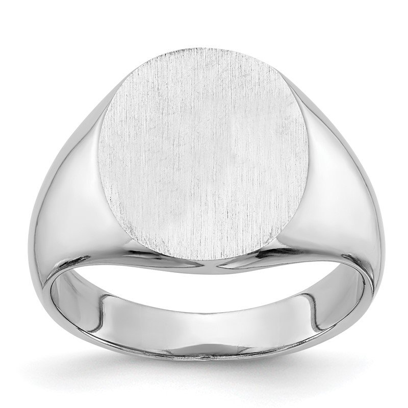 Quality Gold 14k White Gold 14.0x13.5mm Closed Back Signet Ring