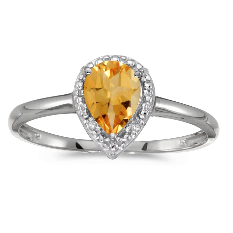 Color Merchants 14k White Gold Pear Citrine And Diamond Ring