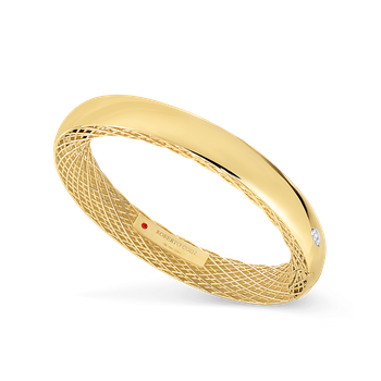 #26722 Of 18Kt Gold Slim Bangle With Diamonds