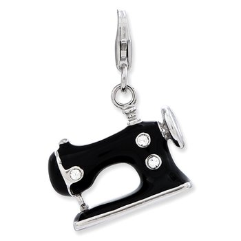 Sterling Silver RH Enameled 3-D Sewing Machine w/Lobster Clasp Charm