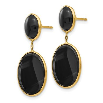 14k Onyx Oval Dangle Earrings