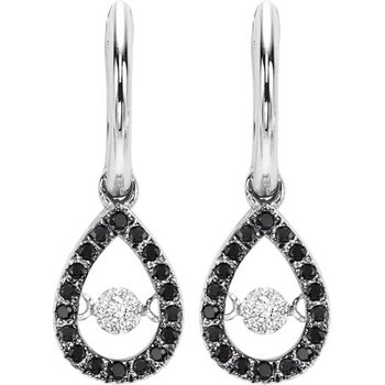 14K Black & white Dia Rhythm Of Love Earrings 1/5 ctw