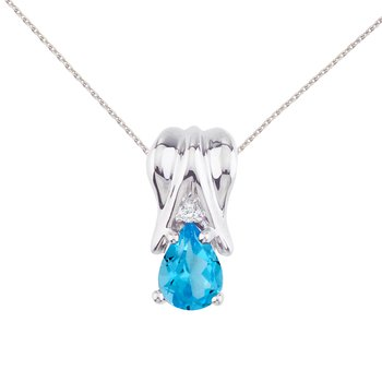 14k White Gold Blue Topaz and Diamond Pear Shaped Pendant