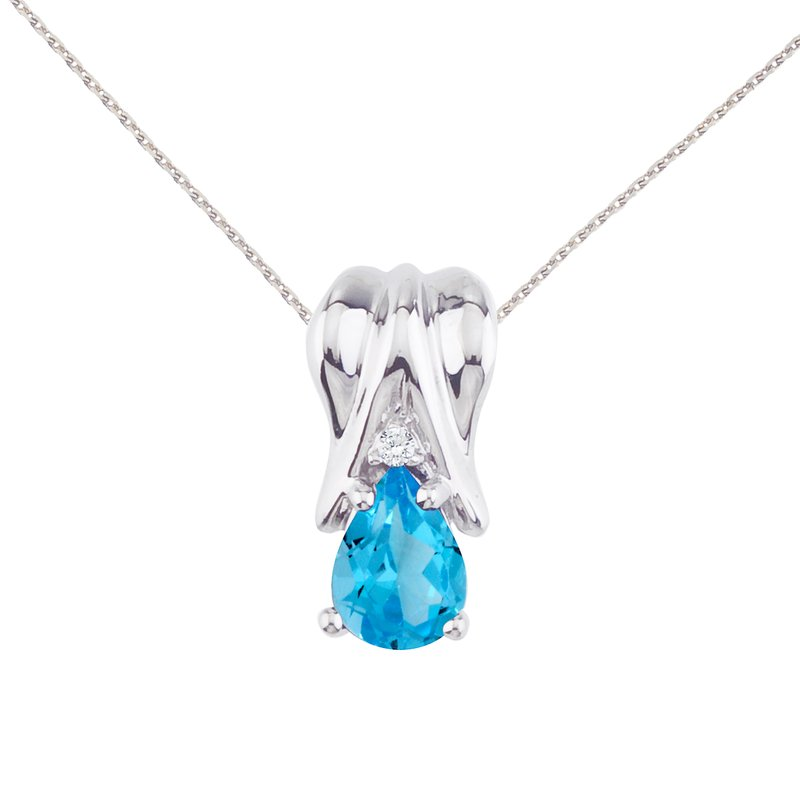 Color Merchants 14k White Gold Blue Topaz and Diamond Pear Shaped Pendant