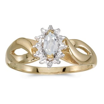 14k Yellow Gold Marquise White Topaz And Diamond Ring