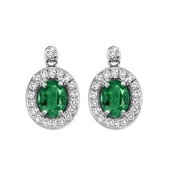 14K White Gold Color Ensembles Halo Prong Emerald Earrings 1/4CT