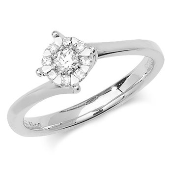 5.8mm 9Ct White Gold 0.18Ct Diamond Ring