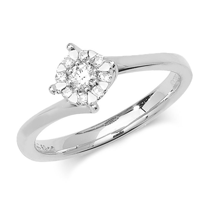 Treasure 5.8mm 9Ct White Gold 0.18Ct Diamond Ring