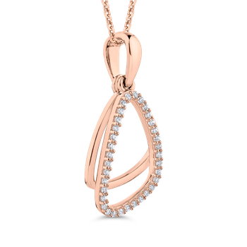 10K Rose Gold .12 ct Round Diamond Fashion Pendant with Chain