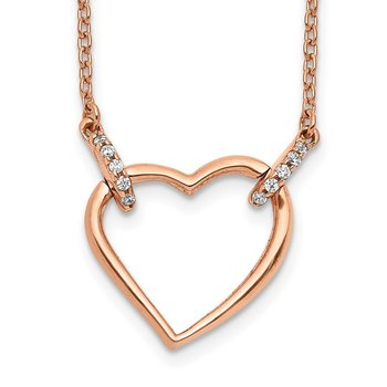14k Rose Gold Diamond Heart 18 inch Necklace