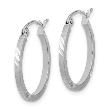 14k White Gold Satin Diamond-cut Square Tube Hoop Earrings