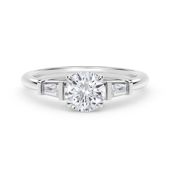 Forevermark Accent™ Engagement Ring with Tapered Baguette Sides