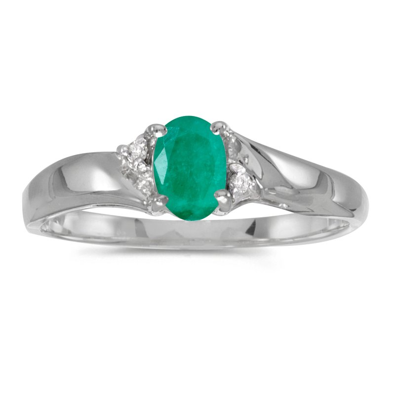 Color Merchants Sterling Silver Oval Emerald And Diamond Ring