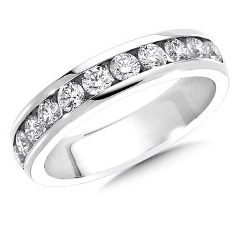 Channel set Round Diamond Wedding Band 14k White Gold (1/2ct. tw.)