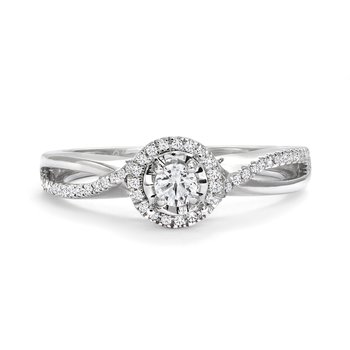 Twist Split Shank Halo Diamond Accent Engagement Ring