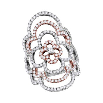18kt White Gold Womens Round Diamond Rose-tone Knuckle Fashion Ring 1-1/2 Cttw