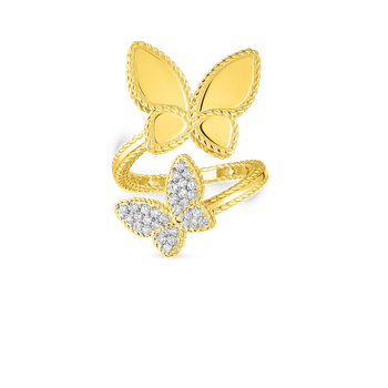 18KT GOLD & DIAMOND PRINCESS DOUBLE BUTTERFLY BYPASS RING