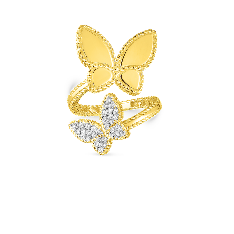 Roberto Coin 18Kt Gold Double Butterfly Ring With Diamonds
