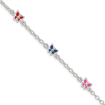Sterling Silver Enamel Butterfly Childs 5in Plus 1in ext Bracelet