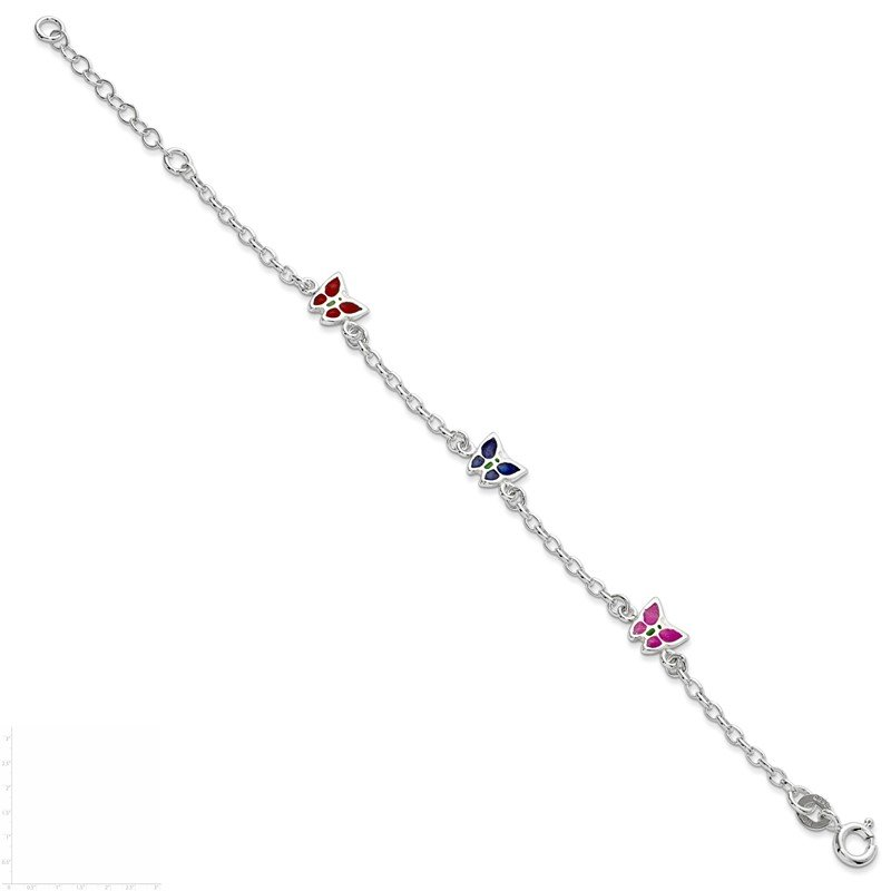 Lester Martin Online Collection Sterling Silver Enamel Butterfly Childs 5in Plus 1in ext Bracelet