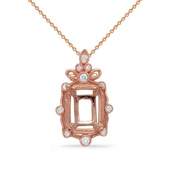 Rose Gold Diamond Pendant 9x7EC Center