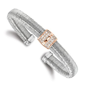 Leslie's Sterling Silver Rose Gold-tone Rhodium-plated CZ Cuff Bangle