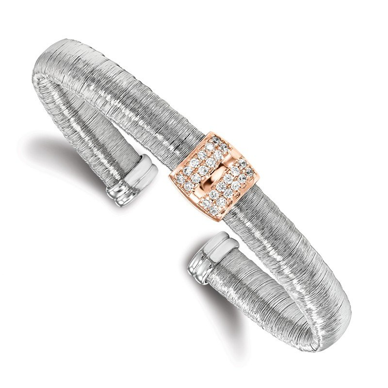 Leslie's Leslie's Sterling Silver Rose Gold-tone Rhodium-plated CZ Cuff Bangle