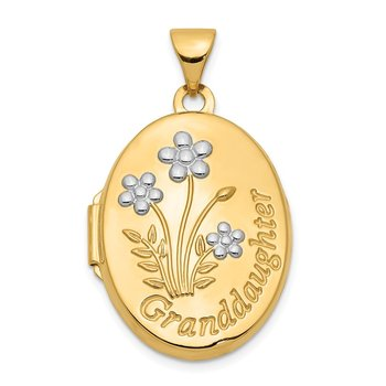 14k with Rhodium 21mm Oval Granddaughter Locket