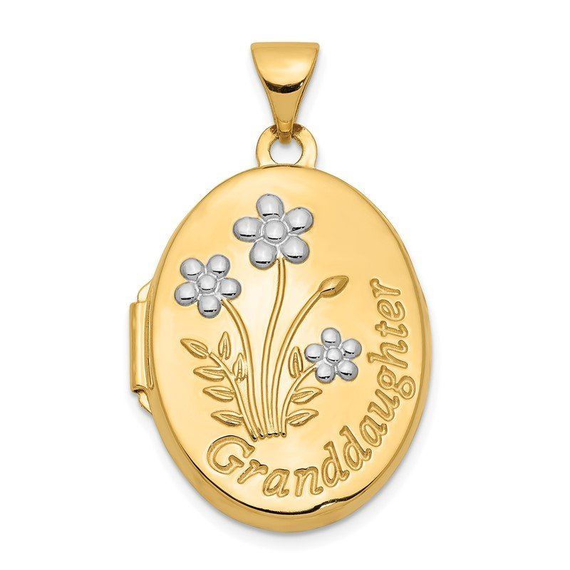 Quality Gold 14k with Rhodium 21mm Oval Granddaughter Locket