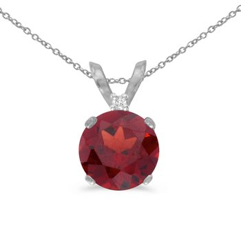 14k White Gold 6mm Round Garnet Stud Pendant (.85 ct)