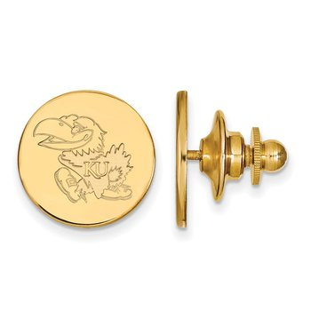 Gold-Plated Sterling Silver University of Kansas NCAA Lapel Pin