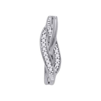10kt White Gold Womens Round Diamond Vertical Woven Strand Pendant 1/20 Cttw