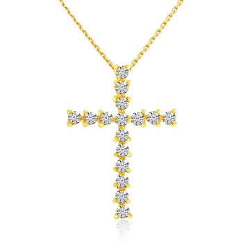 14k Yellow Gold Basic Diamond Cross