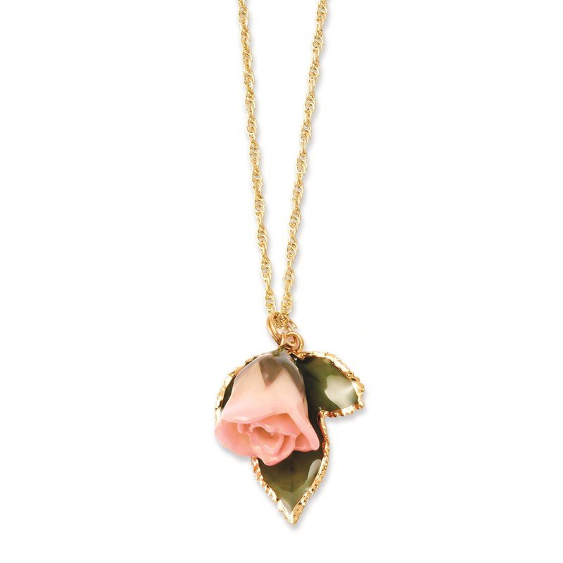 Quality Gold Lacquer Dipped Cream/Pink Rose 24K Gold-trim Leaf 20in Gold-tone Necklace