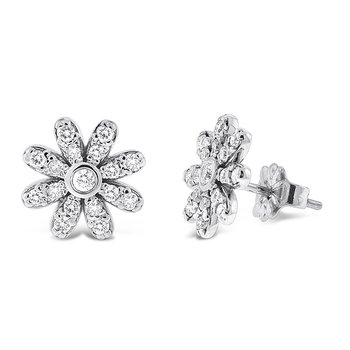 Diamond Daisy Stud Earrings in 14k White Gold with 34 Diamonds weighing .40ct tw.