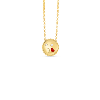 Kiss Emoji Pendant With Diamonds