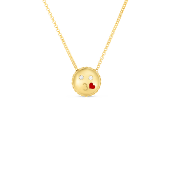 18Kt Gold Kiss Emoji Pendant With Diamonds