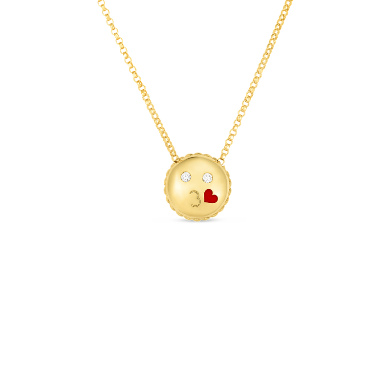 Roberto Coin 18Kt Gold Kiss Emoji Pendant With Diamonds