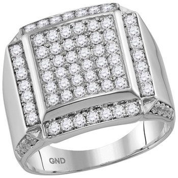 10kt White Gold Mens Round Diamond Square Framed Cluster Ring 2.00 Cttw