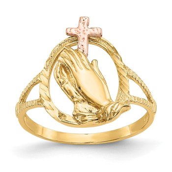 14K Two-tone Diamond Cut Praying Hands Cross Ring