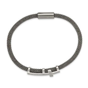 Sterling Silver Ruthenium-plated w/ CZ Cross Mesh Bracelet