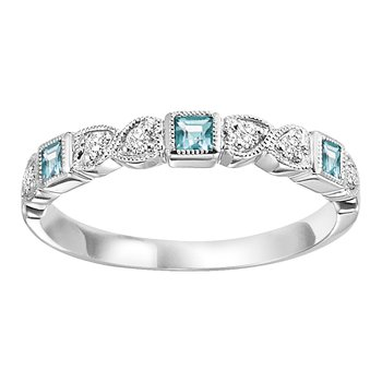 10K Blue Topaz & Diamond Mixable Ring