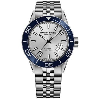 Men's Automatic Diver Watch, 42mm Steel on steel, silver dial