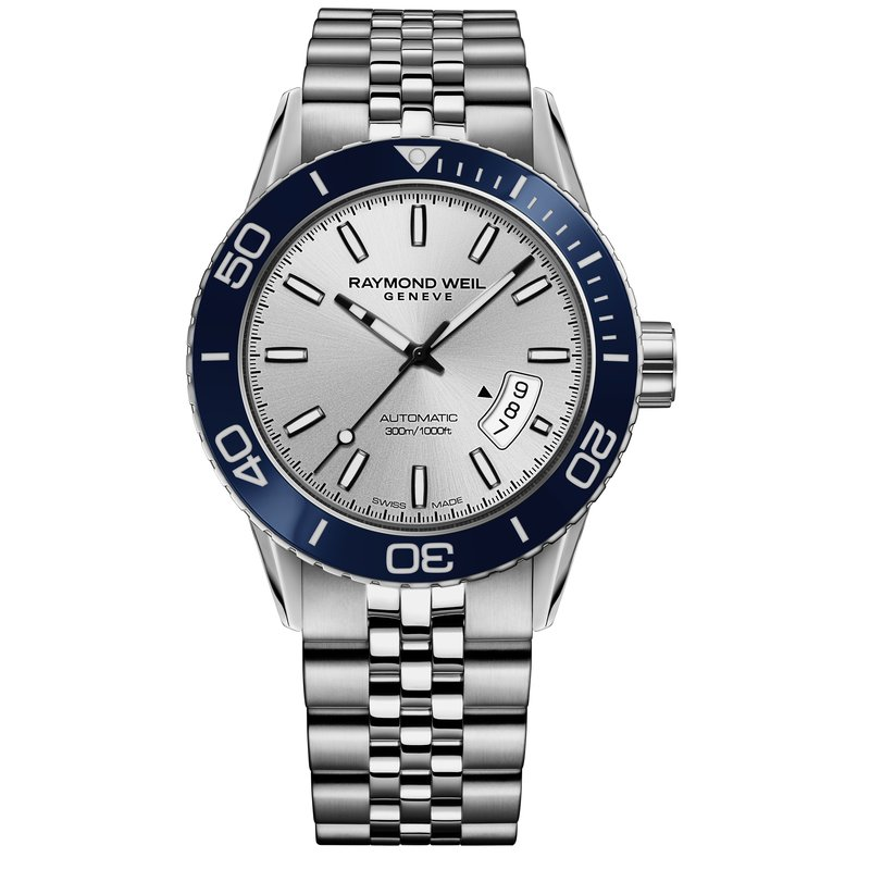 Raymond Weil Men's Automatic Diver Watch, 42mm Steel on steel, silver dial